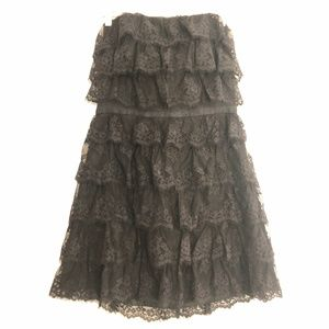 Betsey Johnson Evening Strapless Tier Lace Dress